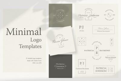 Minimal logo templates. Text editable logos in minimalist style