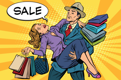 Discounts and sales. Retro man carrying woman on his hands