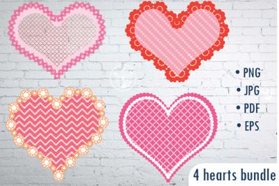 Hearts clip art PNG, Girly Hearts EPS, Hearts digital art