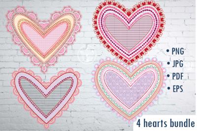 Hearts clip art PNG, Girly Hearts EPS, Scrapbooking hearts