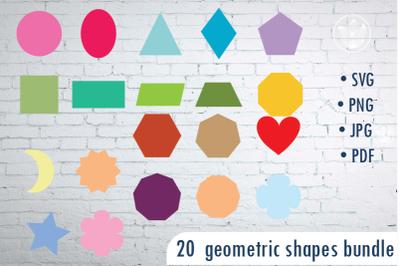Geometric shapes PNG, Digital Shapes PNG, Kids clipart