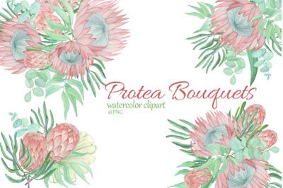 Protea and Eucalyptus bouquet clipart. Watercolor floral clipart