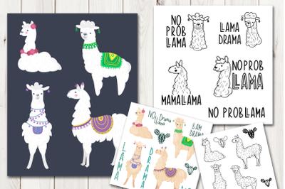Llama and alpaca vector clip art