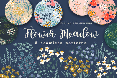 Flower Meadow. 8 seamless patterns