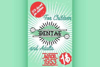 Color vintage dental poster