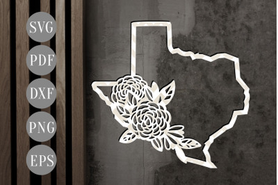 Texas Map 1 Frame Papercut Template, State Map Decor, SVG, PDF