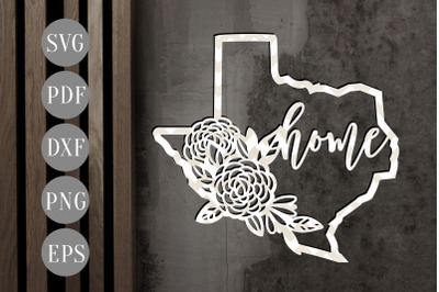 Texas Home 1 Map Papercut Template, State Map Decor, SVG, PDF