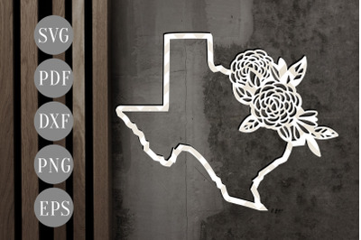 Texas Map Frame 2 Papercut Template, State Map Decor, SVG, DXF