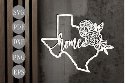 Texas Home Map 2 Papercut Template, State Map Decor, SVG, PDF