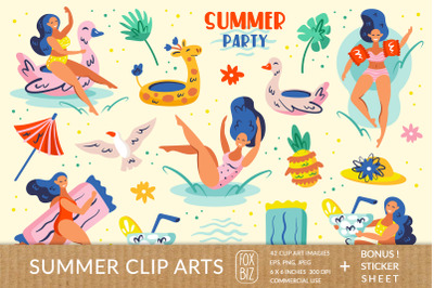 Summer party clipart. Flat vector digital prints stickers.