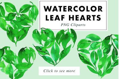 4 Valentines Watercolor Leaf Heart