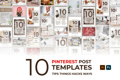 10 Pinterest Editable Templates. 10 Pinterest post and pins with list