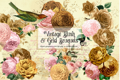 Vintage Blush and Gold Bouquets Clipart