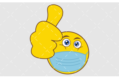 Thumb up emoji with medical mask icon