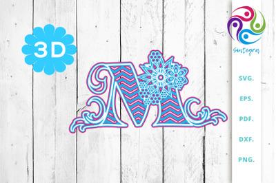 3D Multilayer Floral Chevron Letter M , SVG Cut File