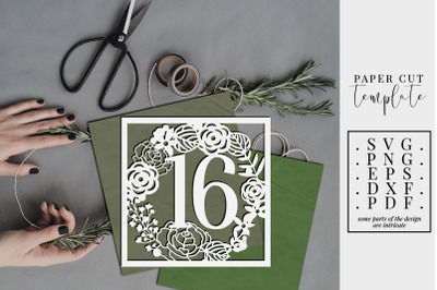 16 Birthday Square Papercut Template, Sweet 16 Card, SVG PDF