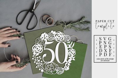 50 Birthday Wreath Papercut Template, 50th Birthday SVG, PDF