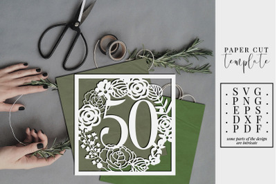 50 Birthday Square Papercut Template, 50th Birthday SVG, PDF
