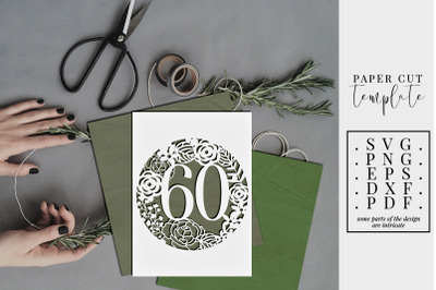 60 Birthday Frame Papercut Template, 60th Birthday, SVG, PDF