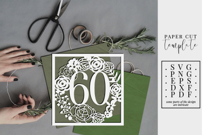 60 Birthday Square Papercut Template, 60th Birthday SVG, PDF