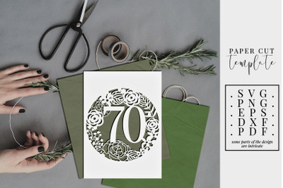 70 Birthday Frame Papercut Template, 70th Birthday, SVG, PDF