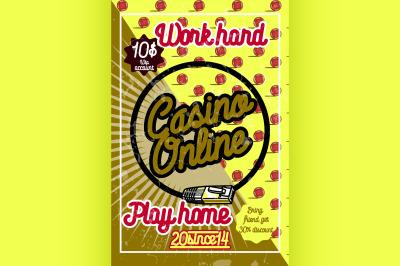 Color vintage online casino poster