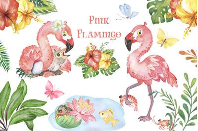 Tropical Flamingo Clipart. Watercolor pink flamingo, flowers  summer