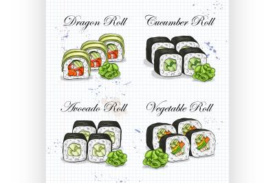 Vector sushi color sketch, set