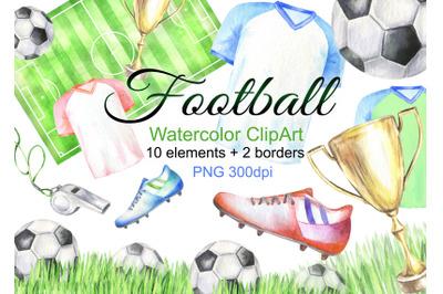 Watercolor football clipart sport clip art boots ball png