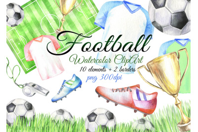 Watercolor football clipart sport clip art boots ball png
