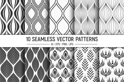 10 seamless floral vector patterns