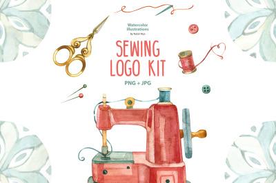 Watercolor sewing logo kit