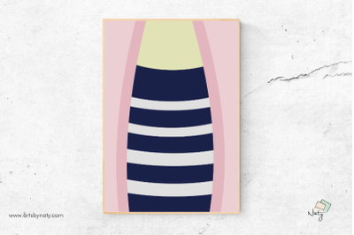 Fashion Pink and Navy Blue Stripes Printable Wall Art.