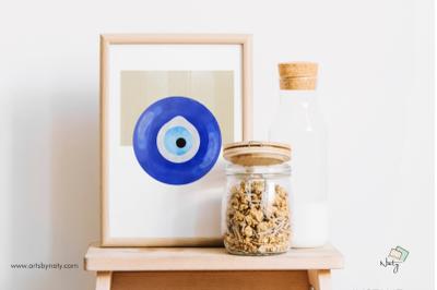 Evil Eye Printable abstract blue wall art for interior decor