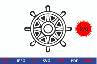 Steering wheel svg icon cut file dxf helm