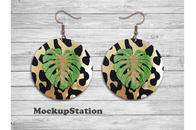 Leopard Tropical Round Earring Sublimation PNG Design