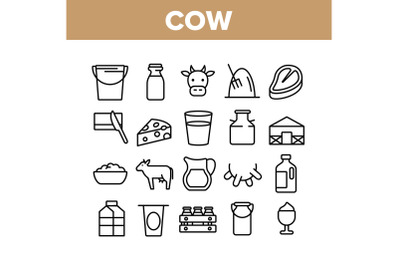 Cow Farming Animal Collection Icons Set Vector