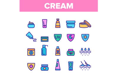 Collection Healthy Cream Elements Vector Icons Set