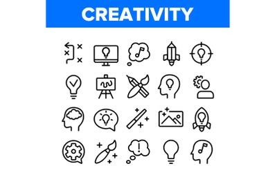 Creativity Collection Elements Icons Set Vector