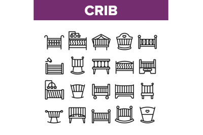 Crib Baby Infant Bed Collection Icons Set Vector