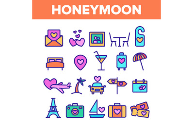 Color Honeymoon Elements Icons Set Vector