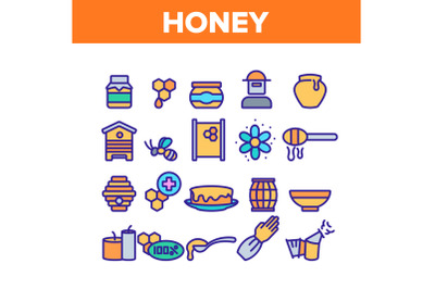 Honey Product Collection Elements Icons Set Vector