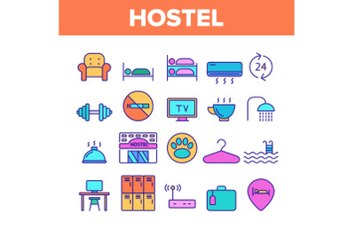 Color Hostel, Tourist Accommodation Vector Linear Icons Set