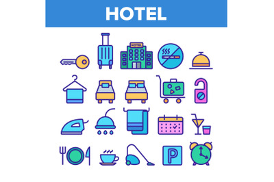 Hotel Accommodation, Room Amenities Vector Linear Icons Set