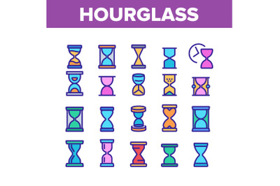 Hourglass Color Elements Icons Set Vector