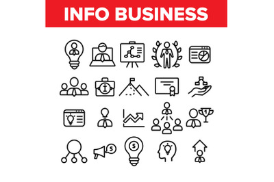 Info Business Collection Elements Icons Set Vector