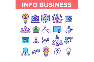 Info Business Collection Elements Icons Color Set Vector