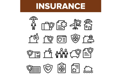 Insurance Collection Elements Vector Icons Set