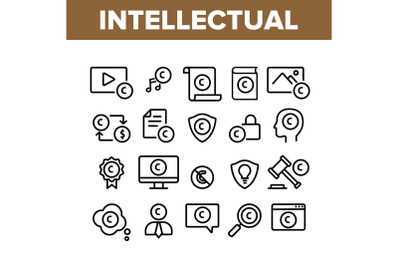 Intellectual Property Collection Icons Set Vector