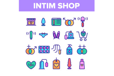 Intim Shop Color Elements Vector Icons Set